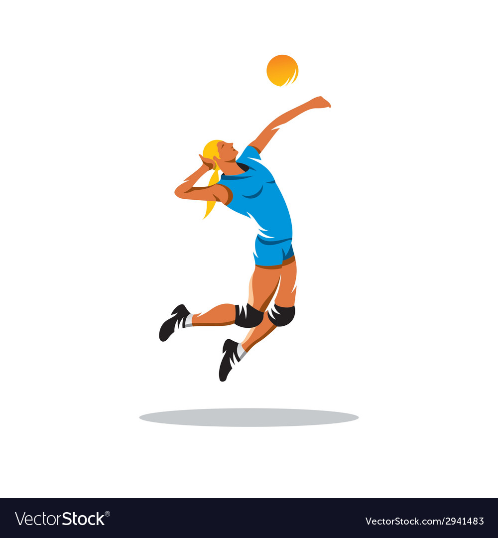 Volleyball player sign vector | Price: 1 Credit (USD $1)