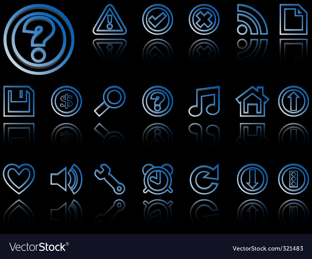Web icons reflected against black vector | Price: 1 Credit (USD $1)