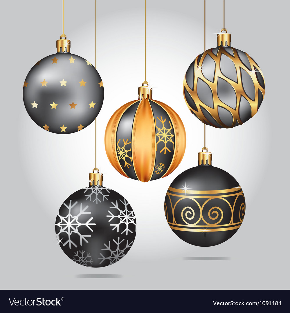 Black christmas ornaments hanging on gold thread vector | Price: 1 Credit (USD $1)