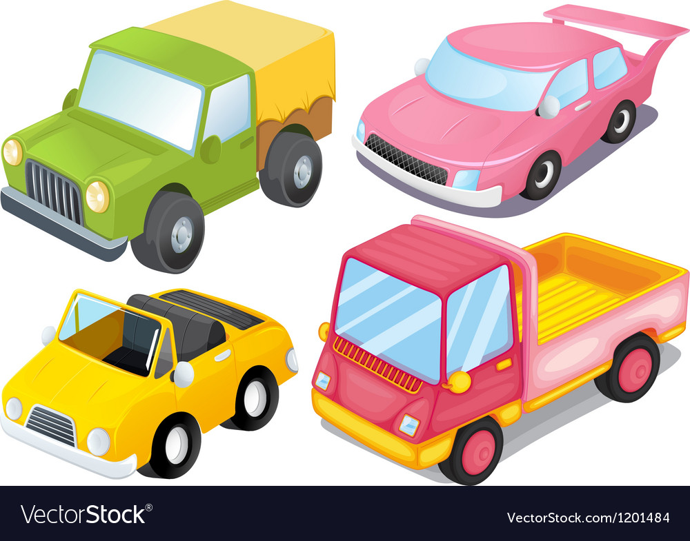 Four colorful vehicles vector | Price: 1 Credit (USD $1)