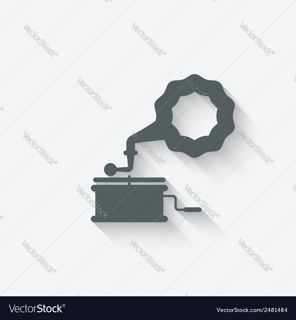Gramophone music design element vector | Price: 1 Credit (USD $1)