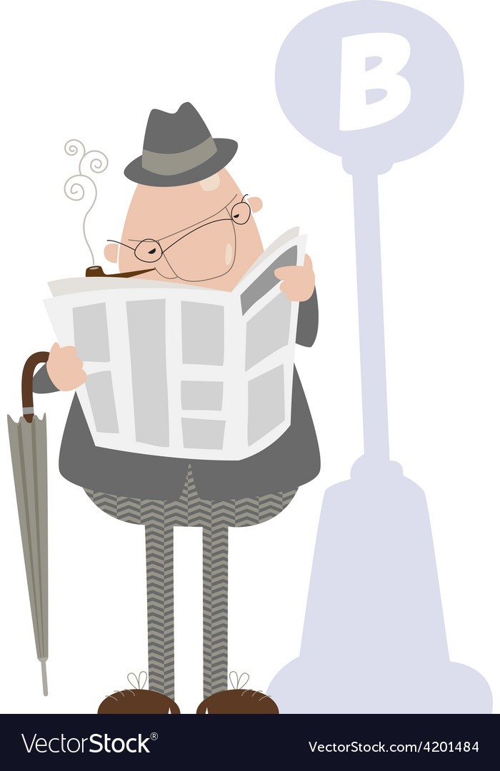 Man smoking a pipe and reading a newspaper vector | Price: 1 Credit (USD $1)