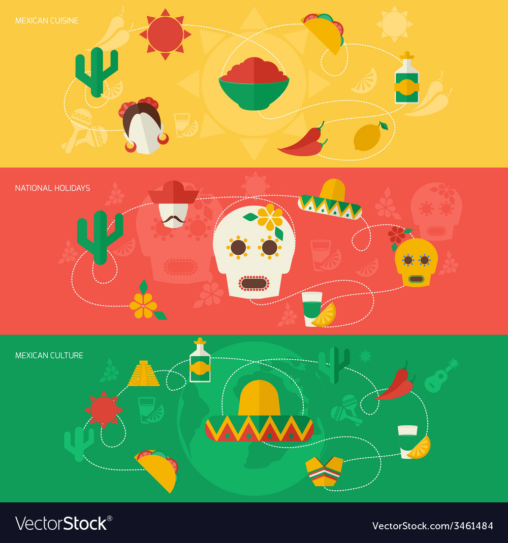 Mexico flat banner set vector | Price: 1 Credit (USD $1)