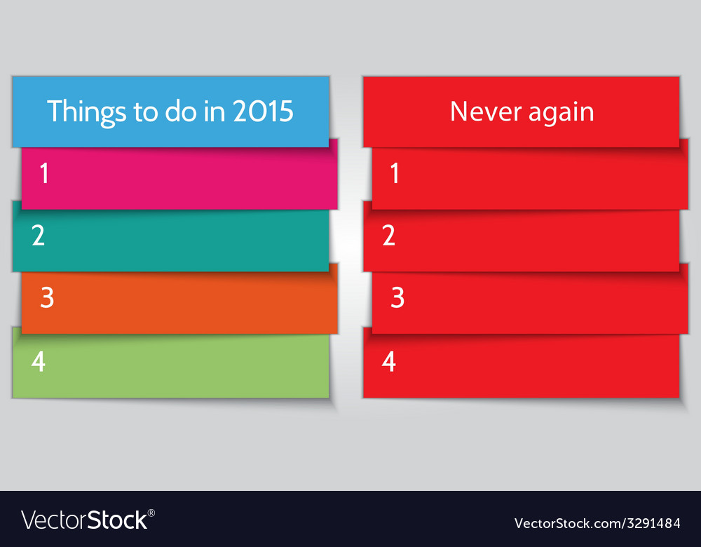 New year resolution double list template vector | Price: 1 Credit (USD $1)