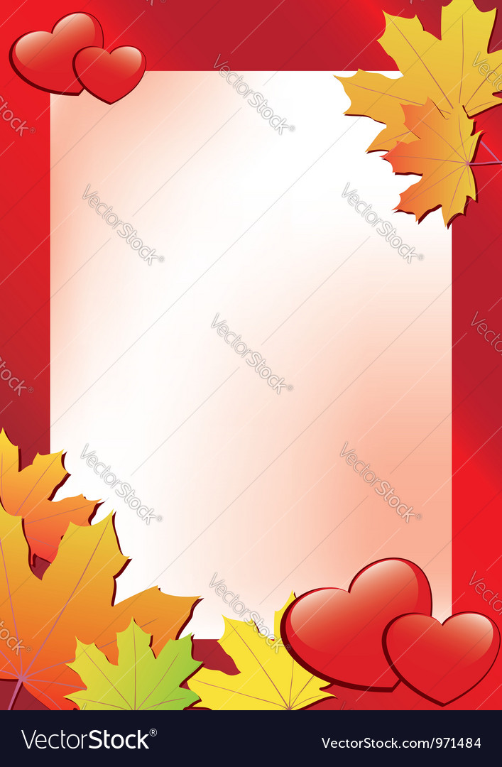 Red autumn frame with hearts vector | Price: 1 Credit (USD $1)