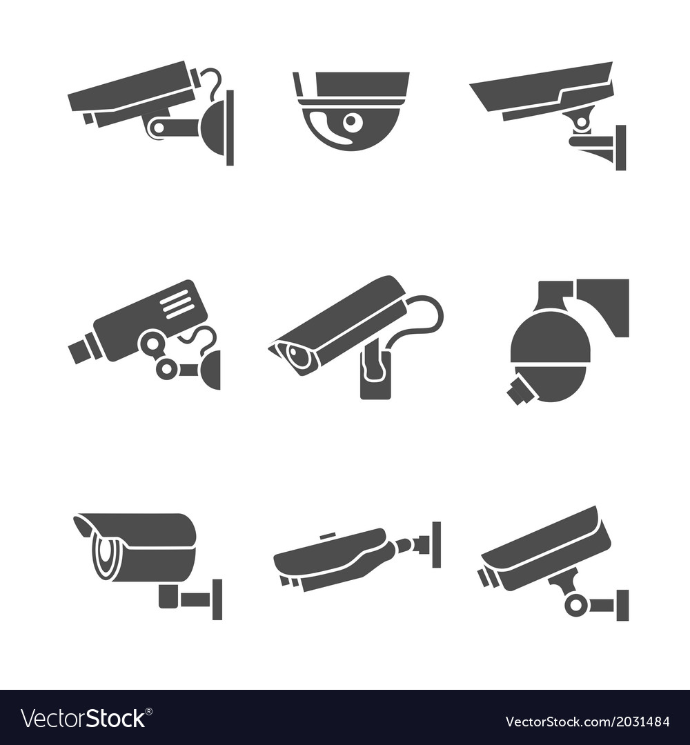 Security cameras icons set vector | Price: 3 Credit (USD $3)