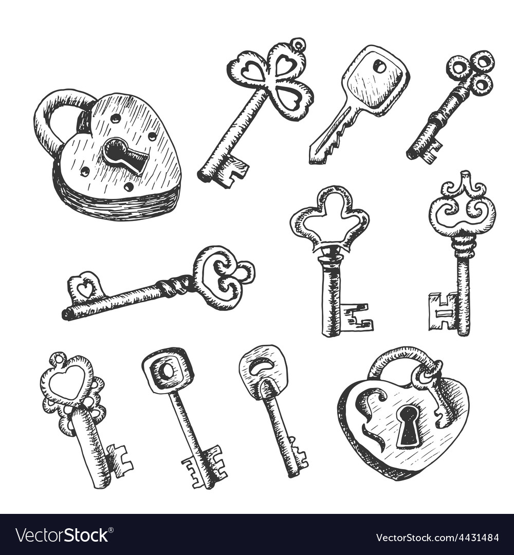 Set of isolated keys in sketch style vector | Price: 1 Credit (USD $1)