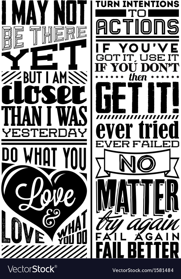 Set of retro vintage motivational quotes vector | Price: 1 Credit (USD $1)