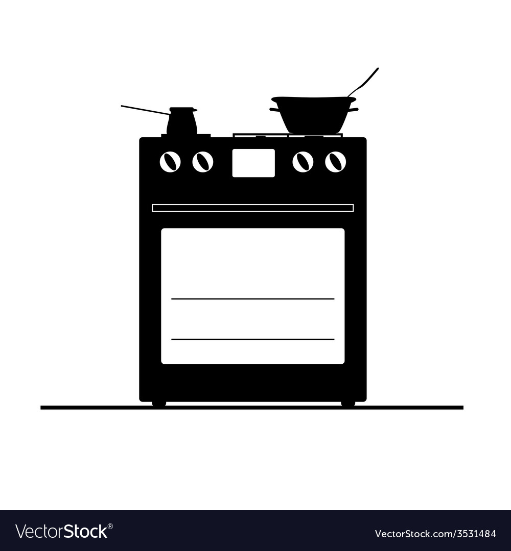Stove black and white vector | Price: 1 Credit (USD $1)