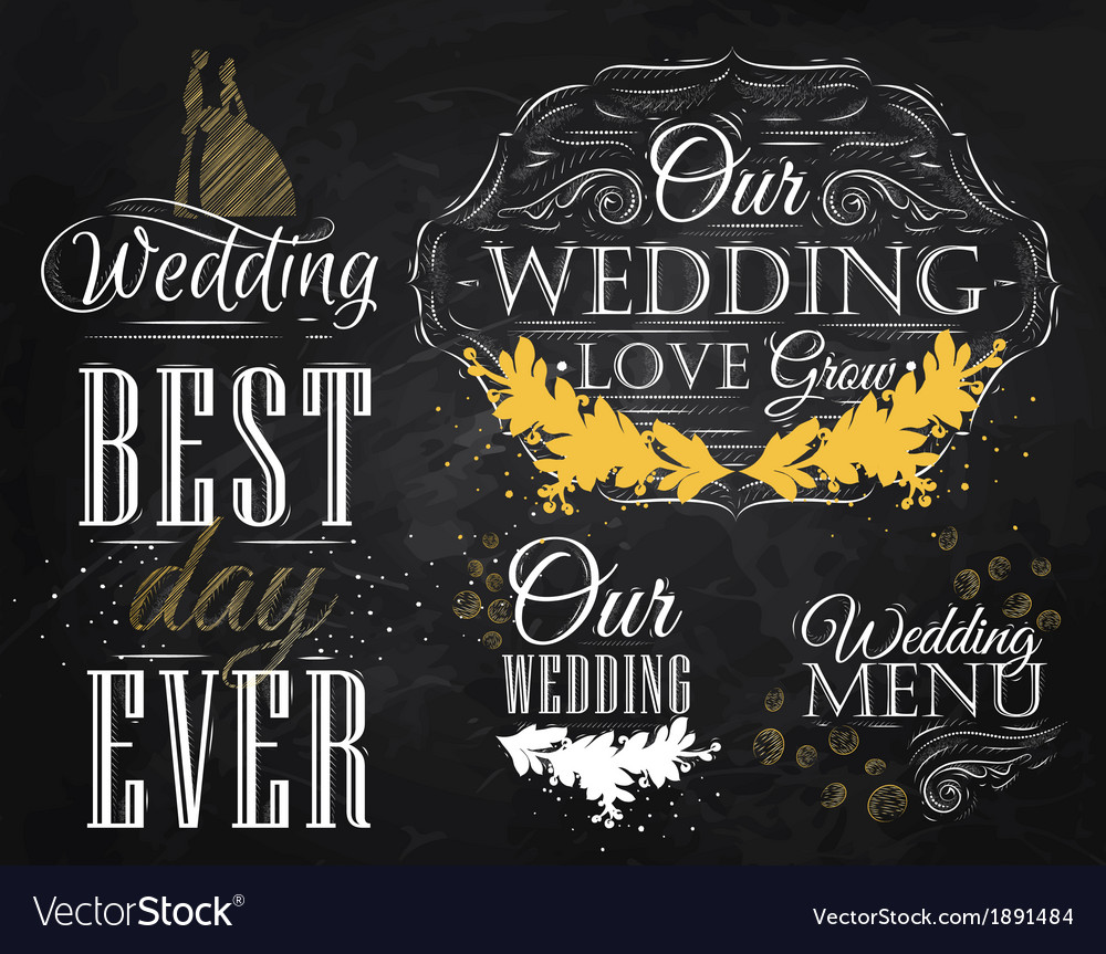 Wedding set chalk color vector | Price: 1 Credit (USD $1)