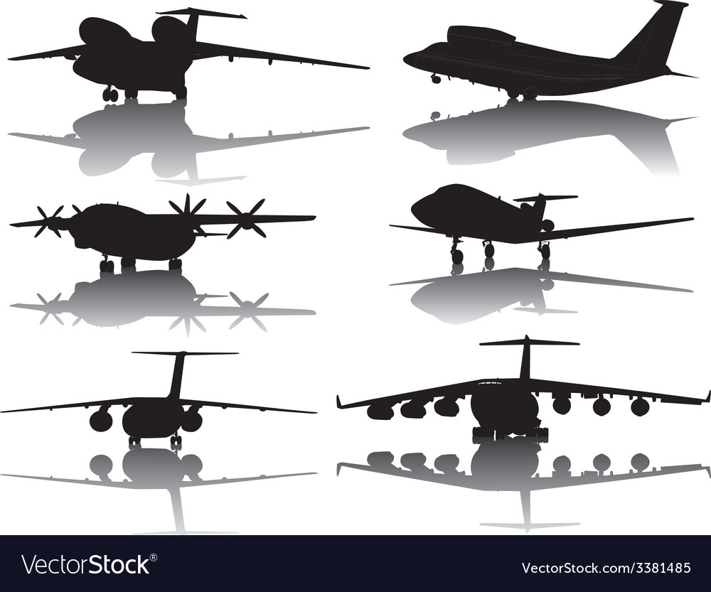 Aircrafts silhouettes vector | Price: 1 Credit (USD $1)