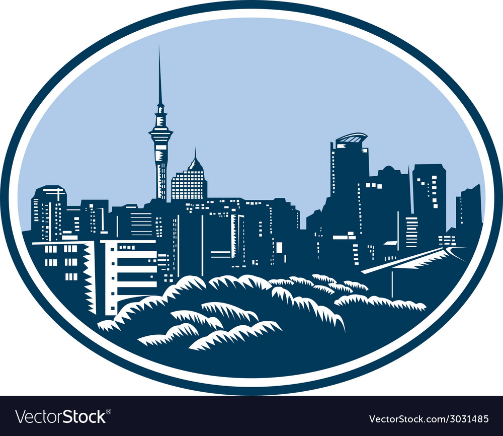 Auckland city skyline woodcut retro vector | Price: 1 Credit (USD $1)