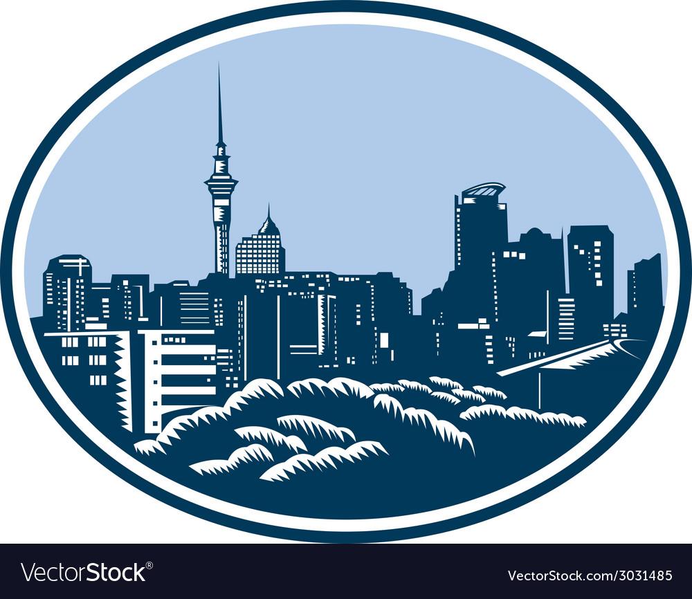 Auckland city skyline woodcut retro vector | Price: 1 Credit (USD $1)