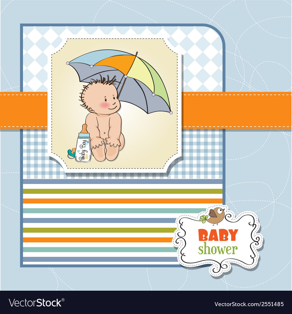 Baby boy shower card with funny baby under his vector | Price: 1 Credit (USD $1)