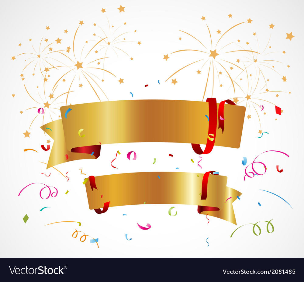 Celebration background with ribbon and confetti vector | Price: 1 Credit (USD $1)