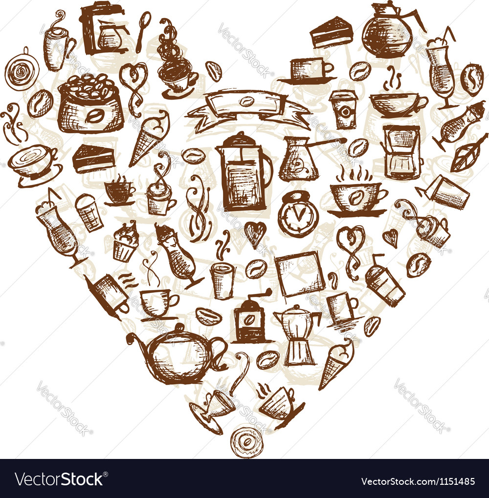 Coffee time heart shape for your design vector | Price: 1 Credit (USD $1)