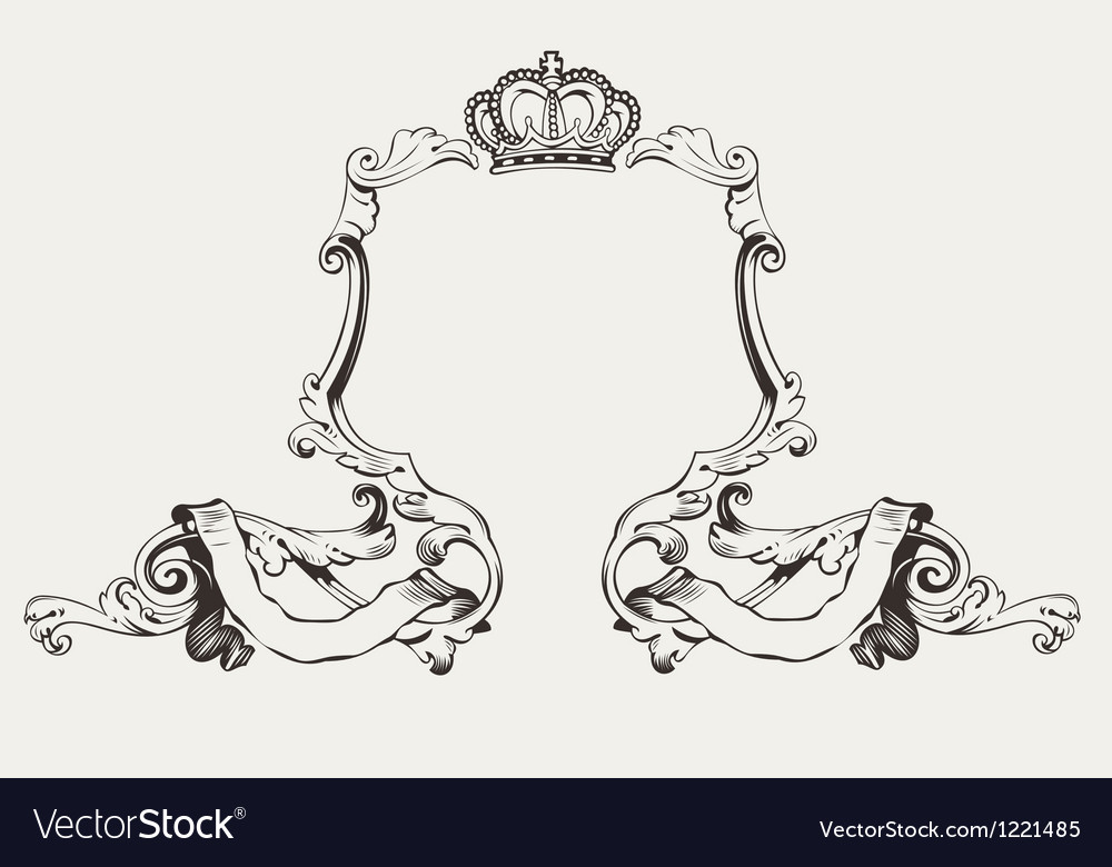 Elegant royal frame with crown vector | Price: 1 Credit (USD $1)