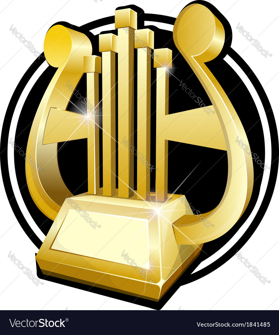 Golden award statuette golden harp vector | Price: 1 Credit (USD $1)