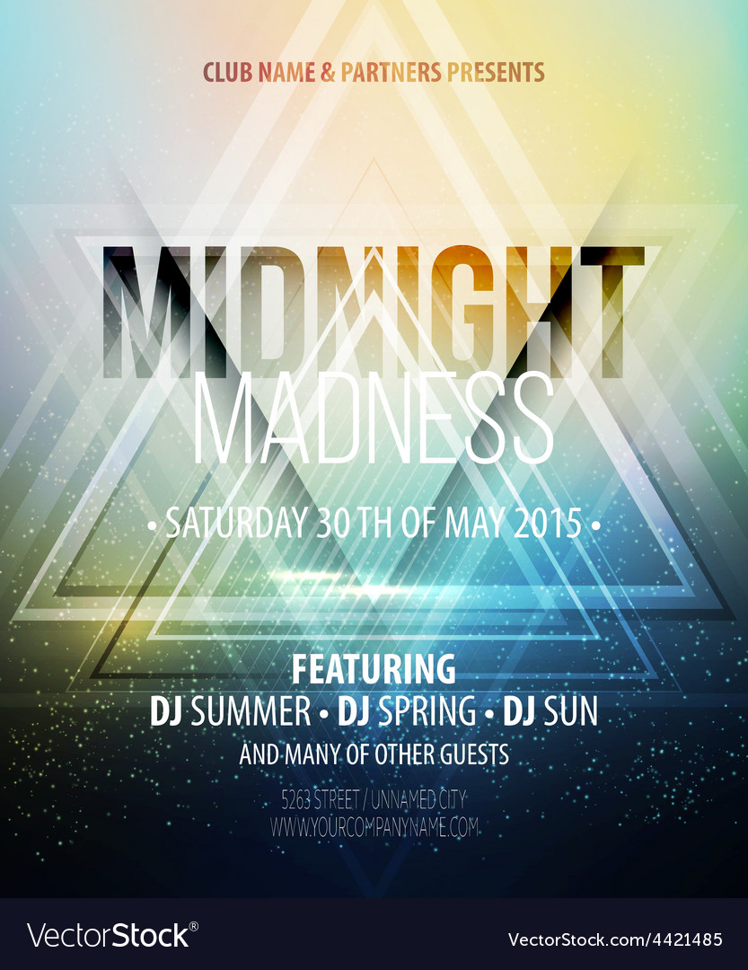 Midnight madness party template poster vector | Price: 3 Credit (USD $3)