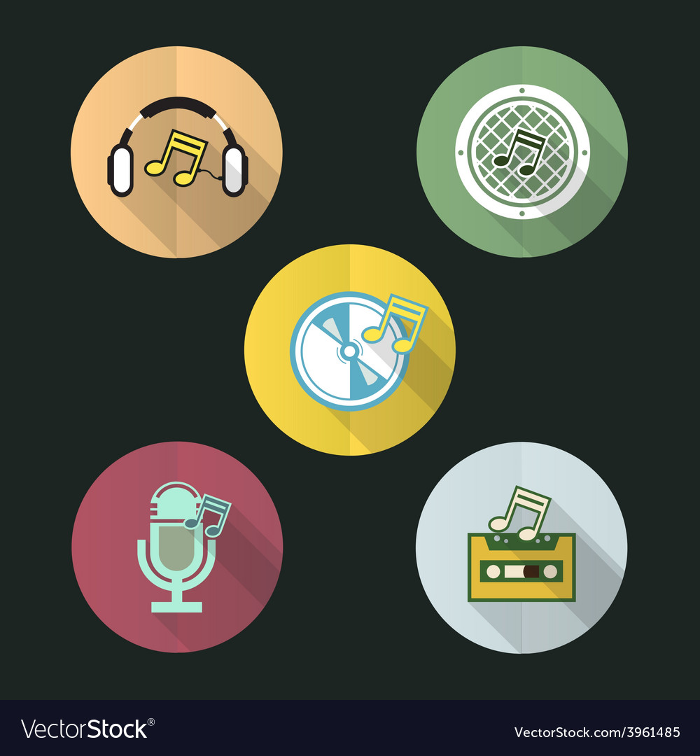 Music flat icon design set vector | Price: 1 Credit (USD $1)