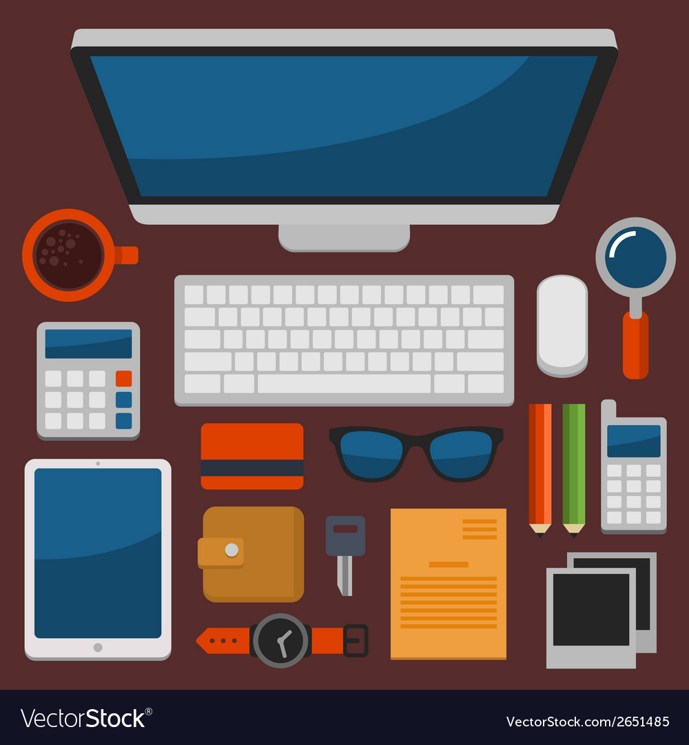 Office workplace top view in flat design vector | Price: 1 Credit (USD $1)