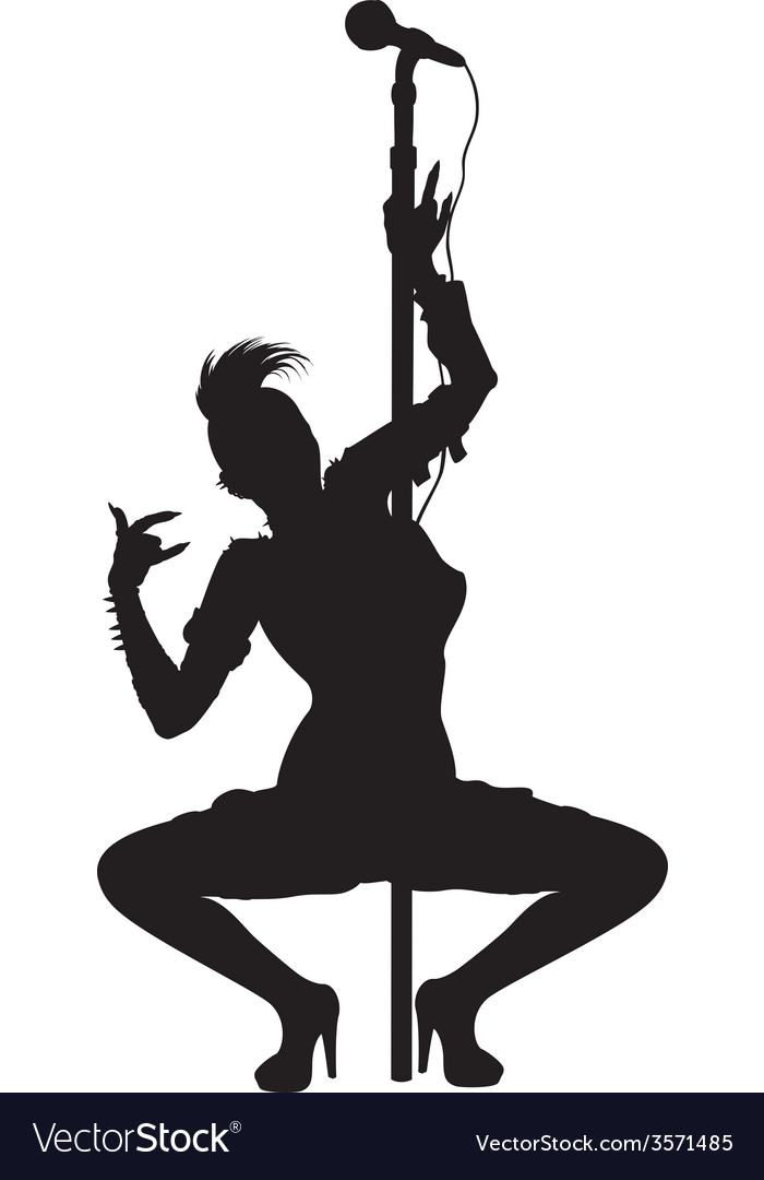 Punk musician girl striptease silhouette vector | Price: 1 Credit (USD $1)