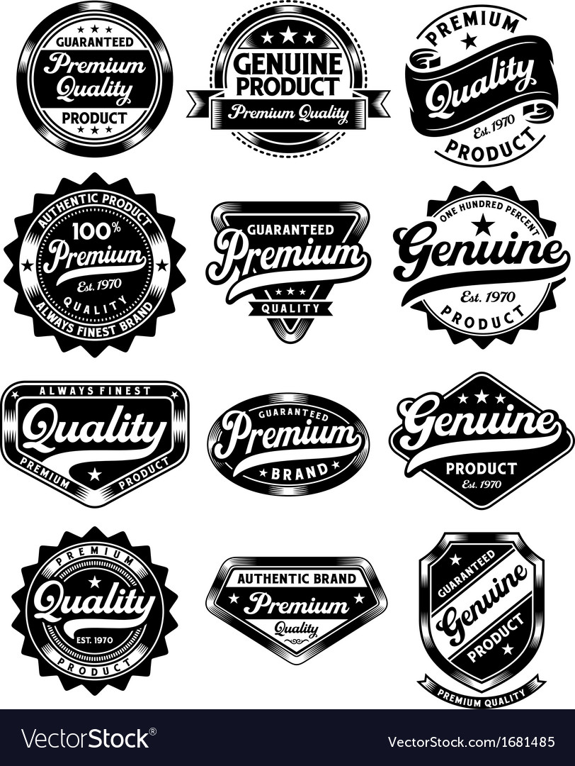 Set of premium quality and genuine vintage labels vector | Price: 1 Credit (USD $1)
