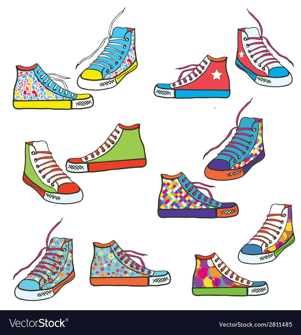 Set of sneakers with pattern funny vector | Price: 1 Credit (USD $1)
