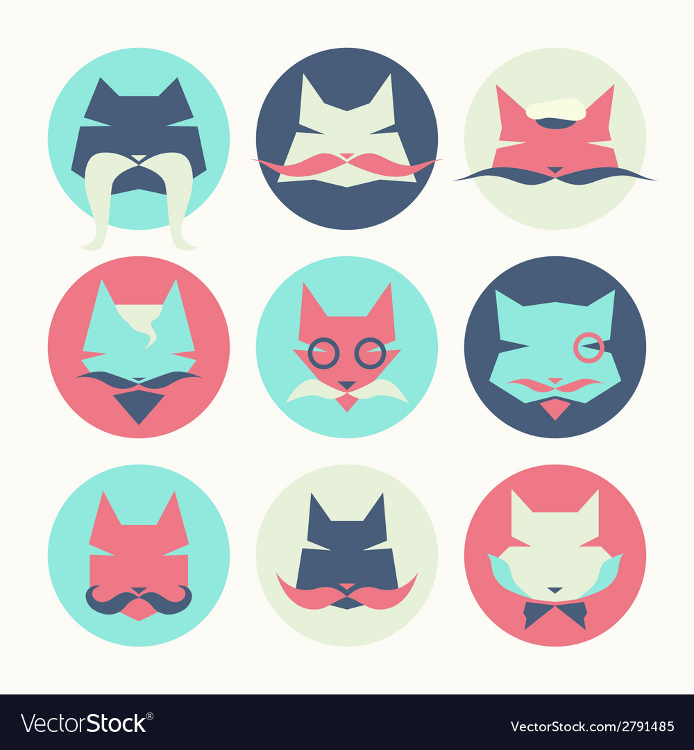 Set of stylized animal avatar bright cats vector | Price: 1 Credit (USD $1)