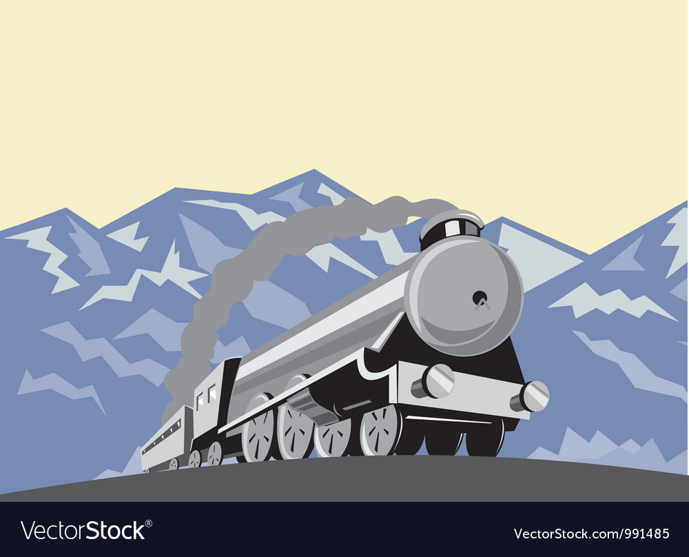 Steam train locomotive mountains retro vector | Price: 1 Credit (USD $1)