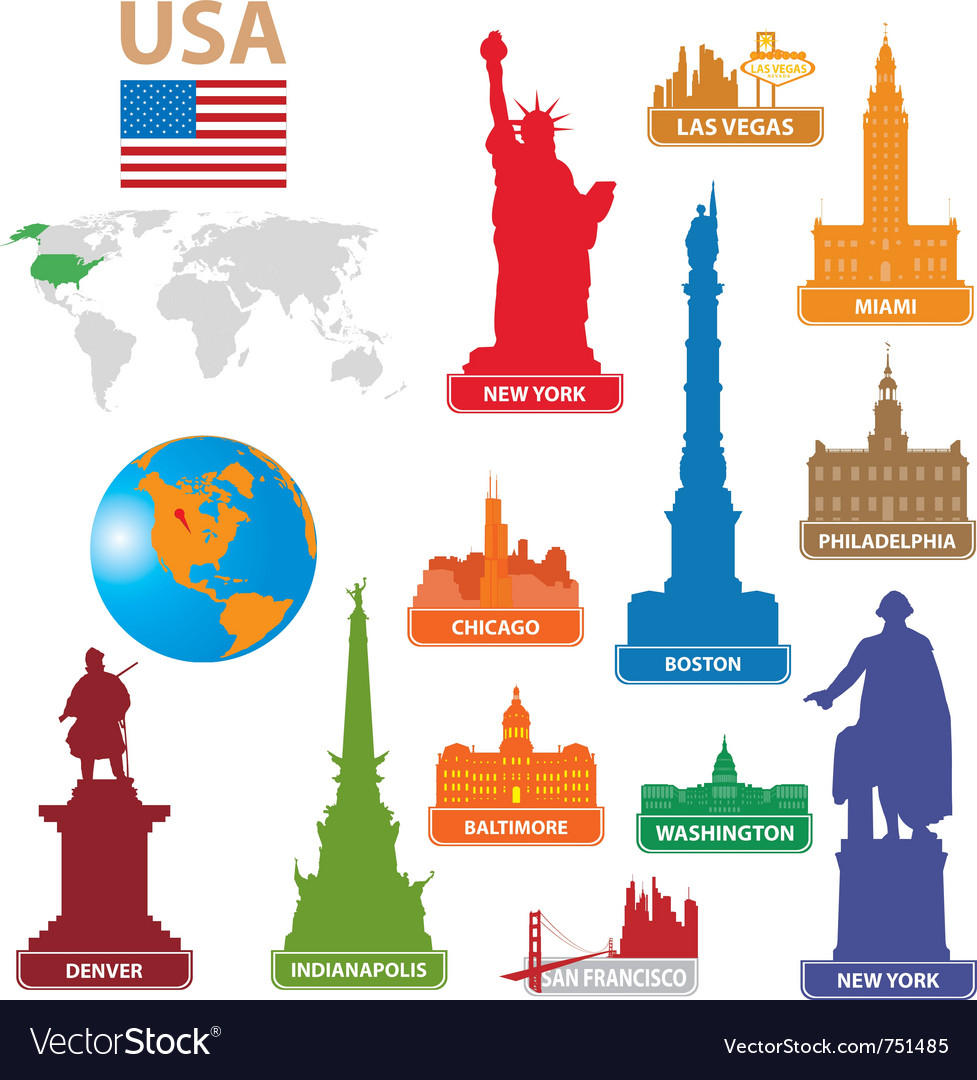 Symbols city usa vector | Price: 3 Credit (USD $3)