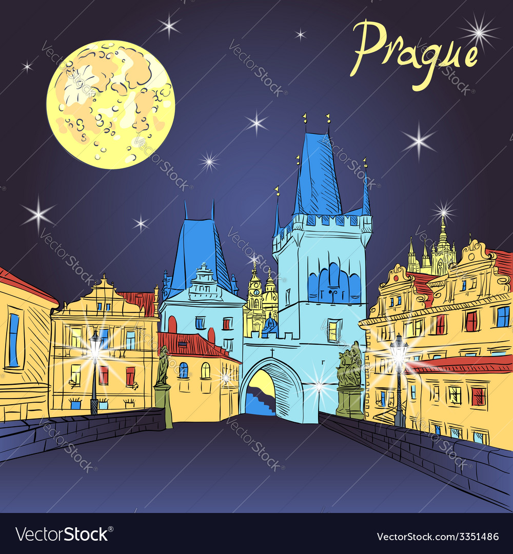 Charles bridge in prague vector | Price: 1 Credit (USD $1)