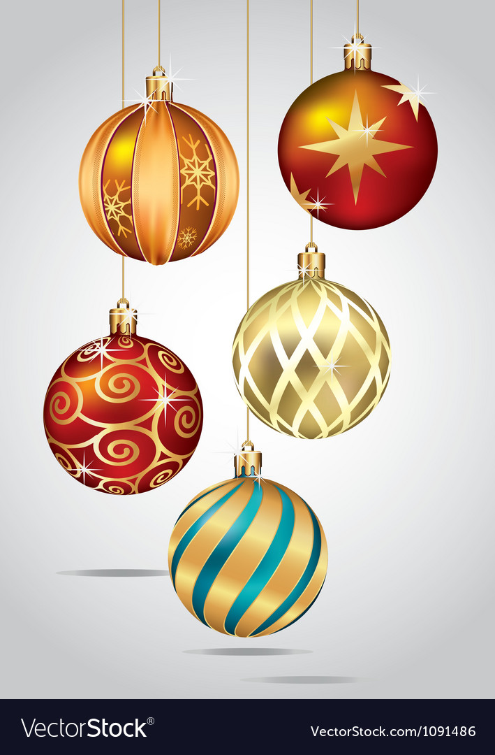 Christmas ornaments hanging on gold thread vector | Price: 1 Credit (USD $1)