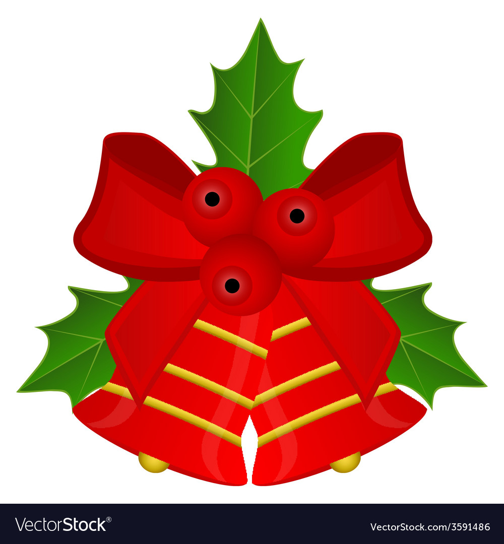 Christmas red bells with bow and holly vector | Price: 1 Credit (USD $1)