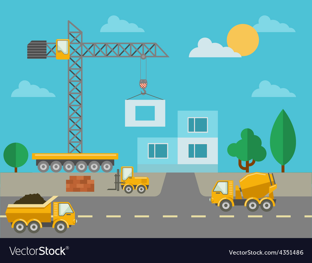 Construction process with construction machines vector | Price: 1 Credit (USD $1)