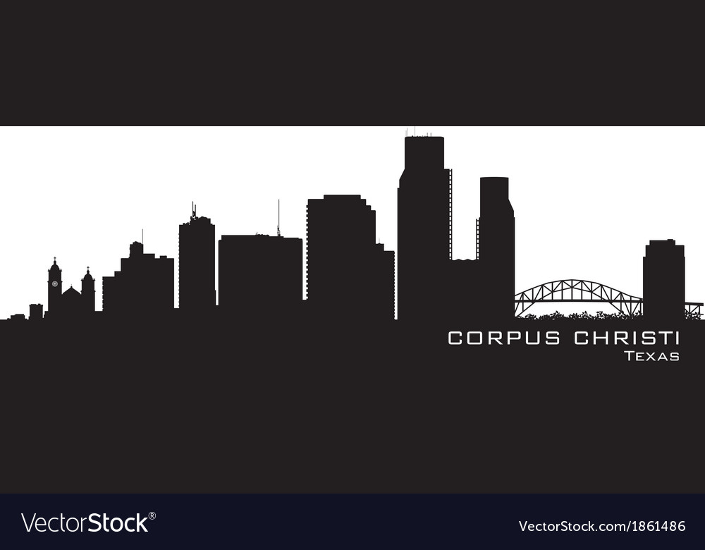Corpus christi texas skyline detailed silhouette vector | Price: 1 Credit (USD $1)