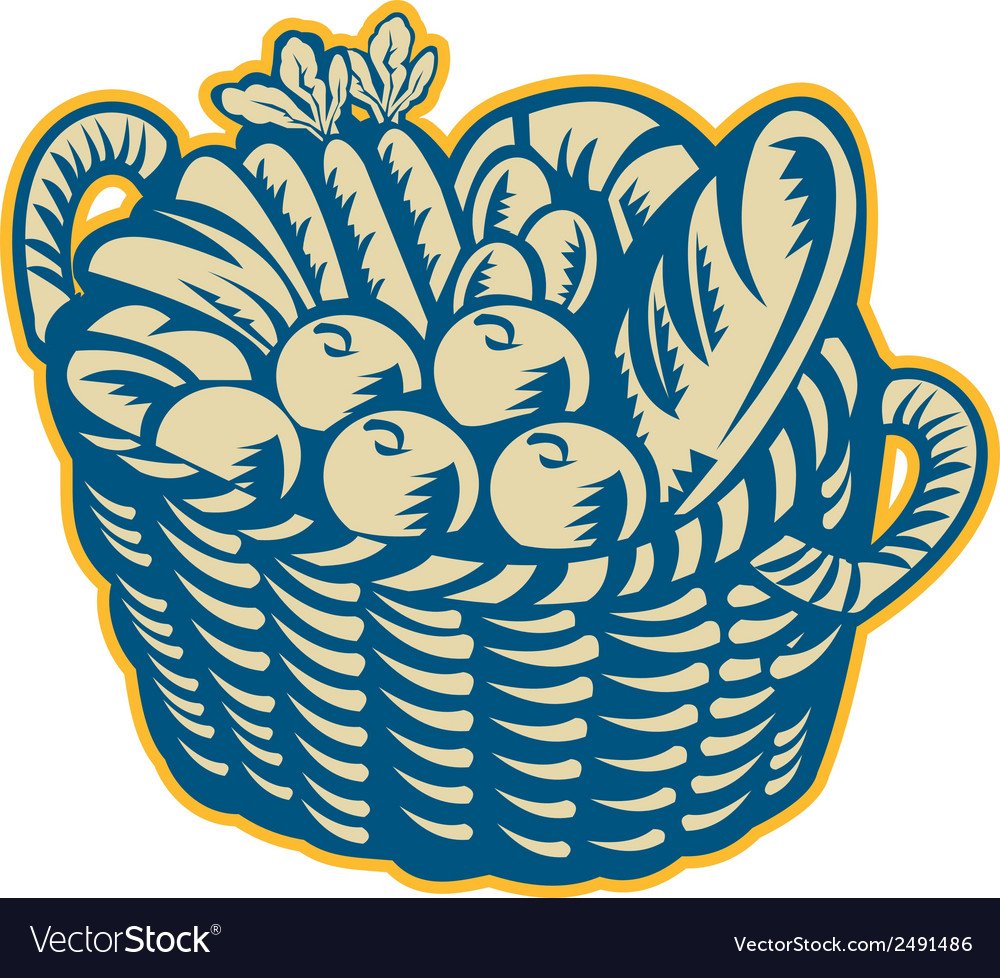 Crop harvest basket retro vector | Price: 1 Credit (USD $1)