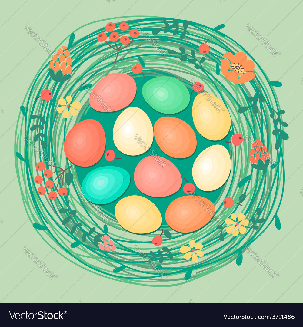 Happy easter card with colored eggs in nest vector | Price: 1 Credit (USD $1)