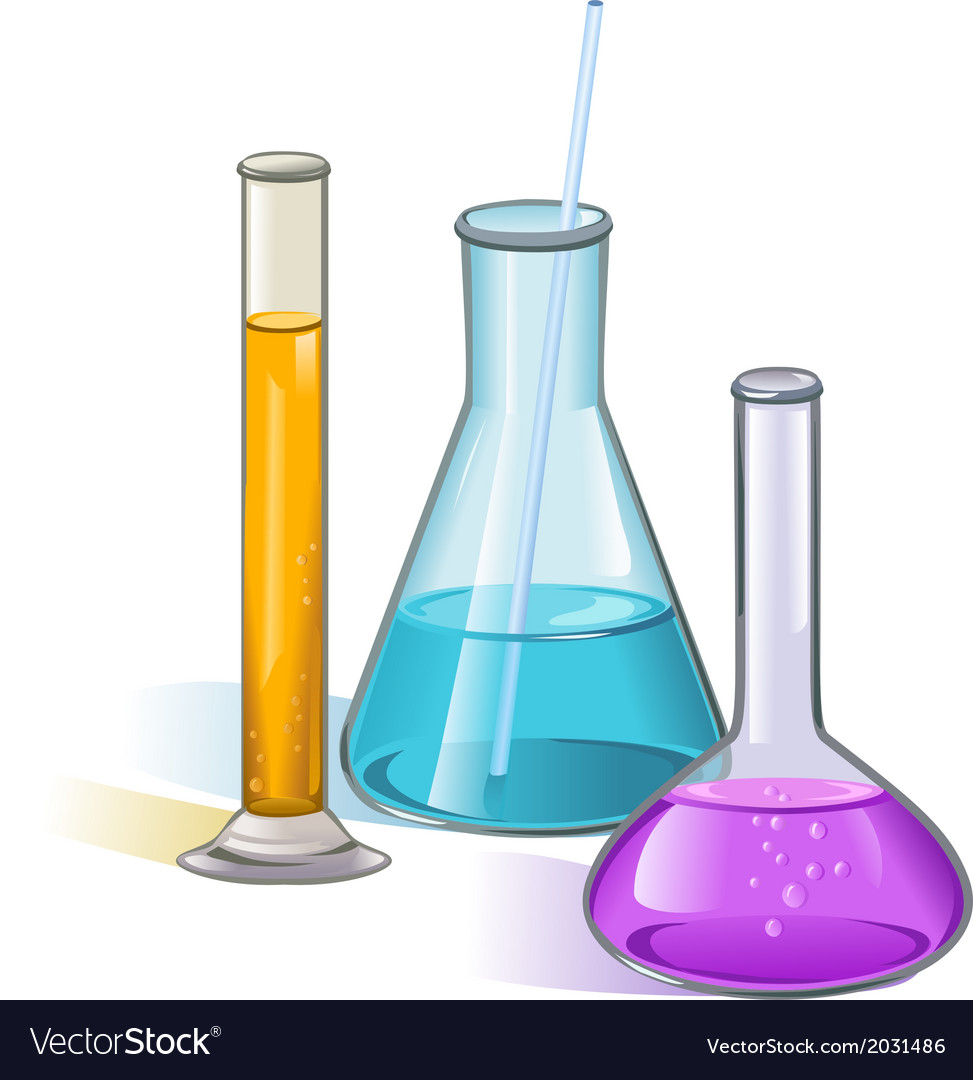 Laboratory flasks glassware concept vector | Price: 1 Credit (USD $1)
