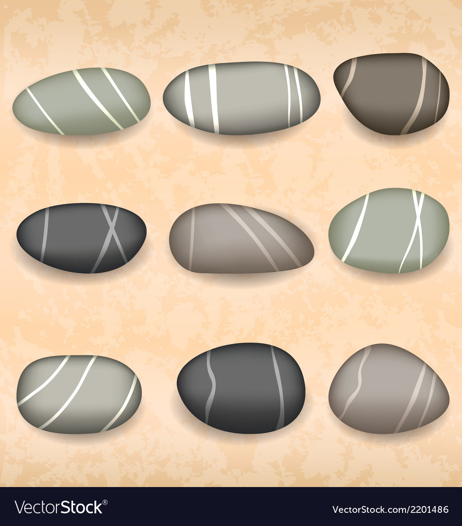 Sea pebbles collection on sand background vector | Price: 1 Credit (USD $1)