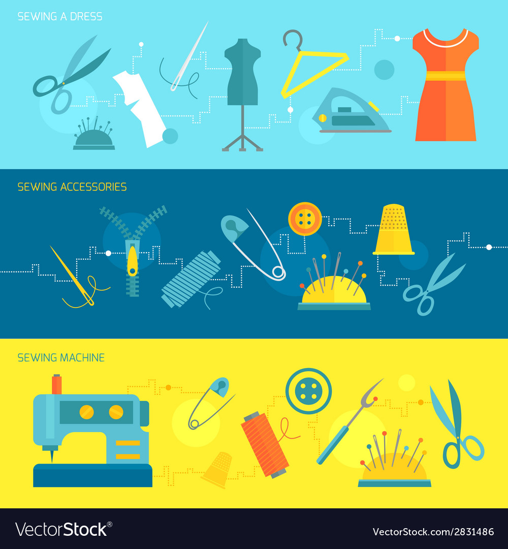Sewing equipment banner flat vector | Price: 1 Credit (USD $1)