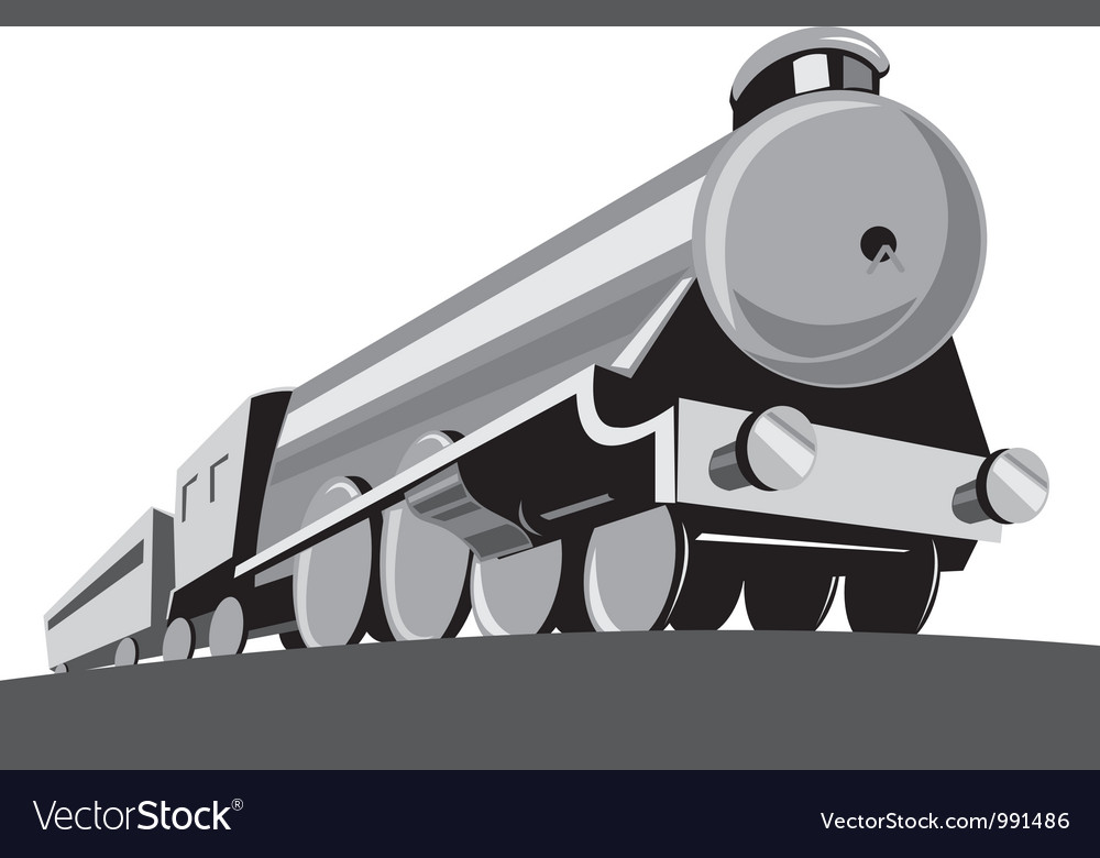 Steam train locomotive retro vector | Price: 1 Credit (USD $1)