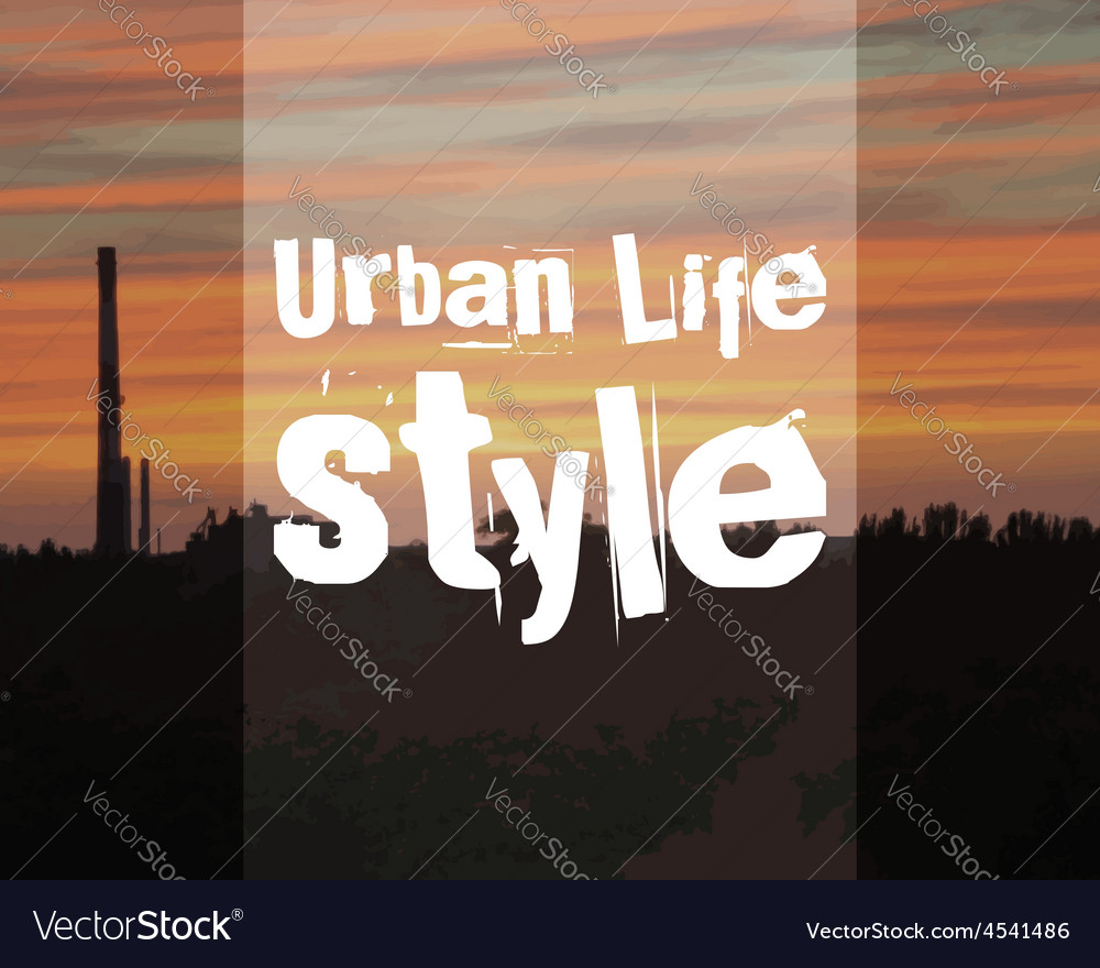 Urban lifestyle poster banner city landscape on vector | Price: 1 Credit (USD $1)