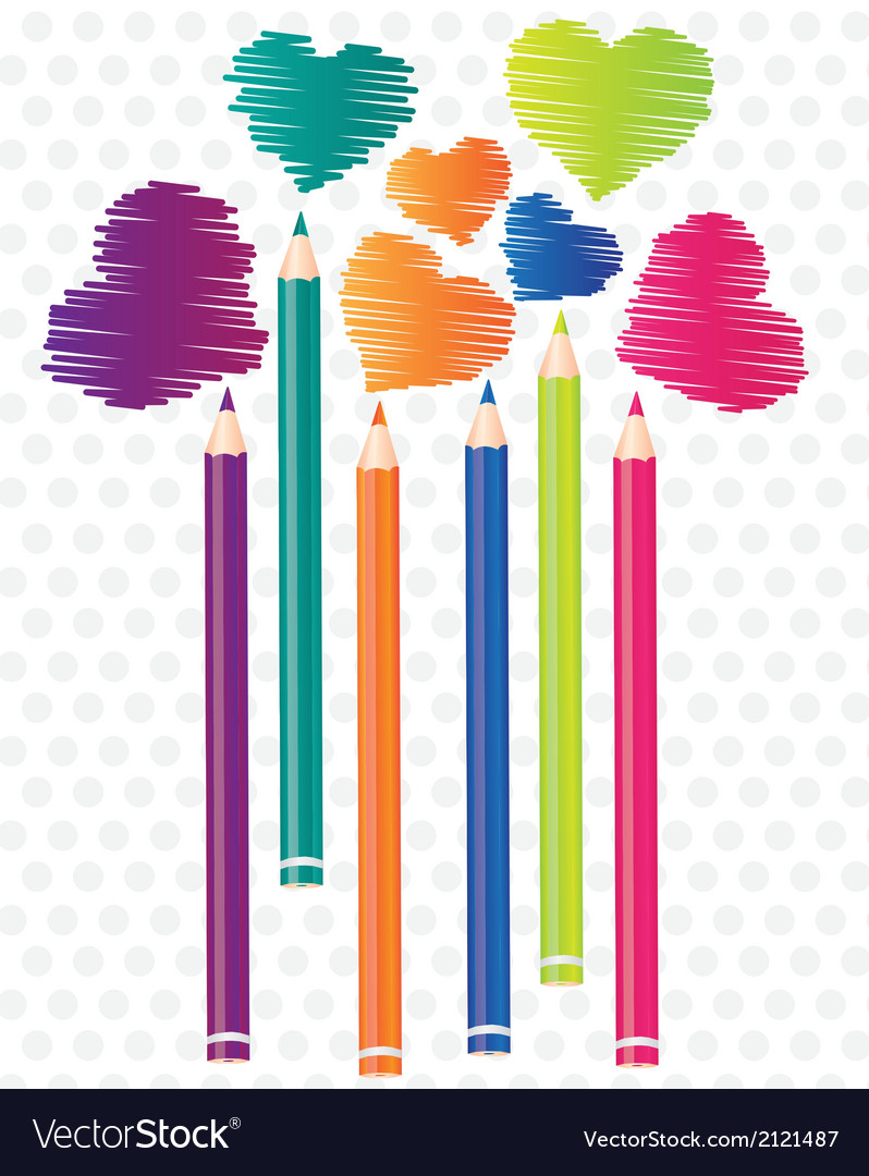 Brightly colored pencils background with heart sha vector | Price: 1 Credit (USD $1)