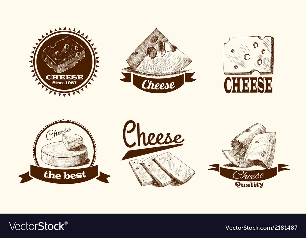 Cheese sketch labels vector | Price: 1 Credit (USD $1)