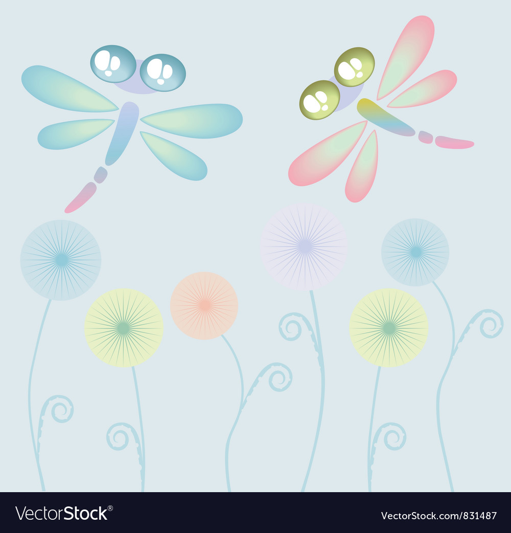 Coloured dragon-fly vector | Price: 1 Credit (USD $1)