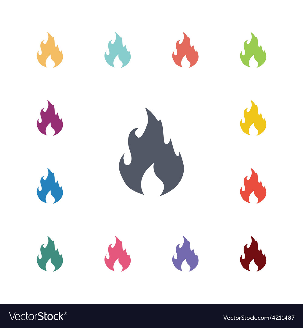 Fire flat icons set vector | Price: 1 Credit (USD $1)