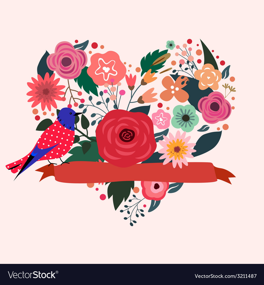 Floral heart and blue bird vector | Price: 1 Credit (USD $1)