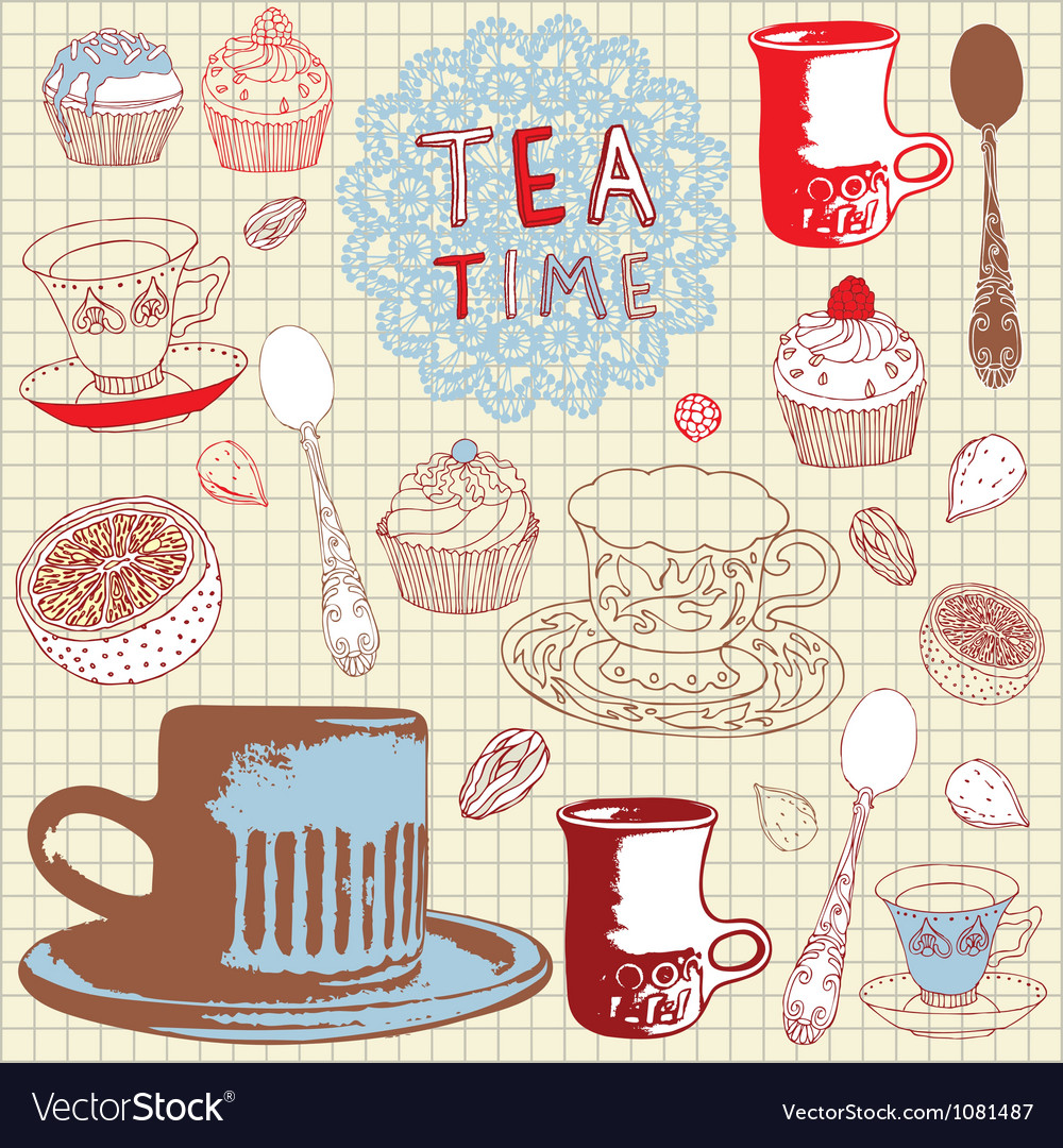 Love tea pattern vector   Price: 1 Credit (USD $1)