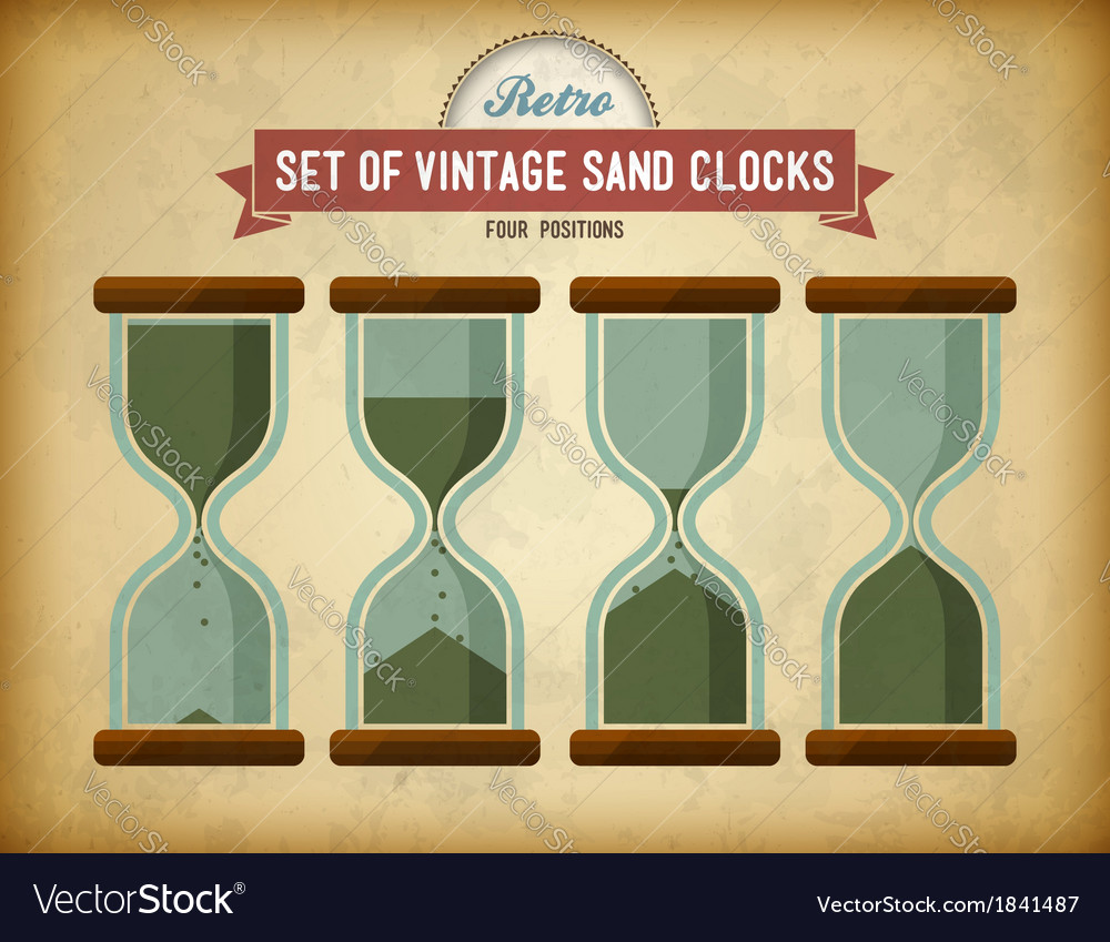 Set of vintage sand clocks on grungy card vector | Price: 1 Credit (USD $1)